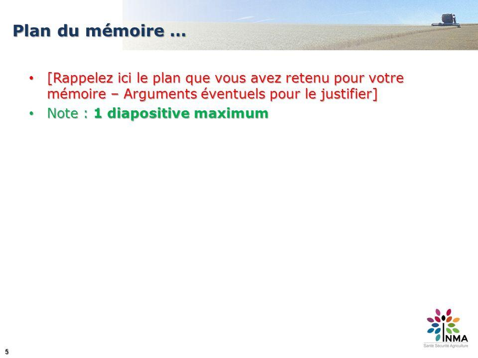 Plan du mémoire … [Rappelez ici le plan que vous avez retenu pour votre mémoire – Arguments éventuels pour le justifier]